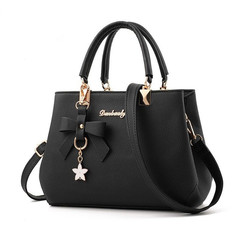 Handbags Ladies Handbags Women Bag Single Shoulder Bag Lady's Handbag With Recreational Oblique Bow black normal