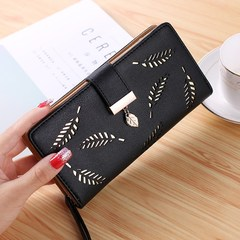Wallets Ladies Leather Women Wallets Hollowed Leaf Ladies Handbags Women Handbags Ladies Bags black normal