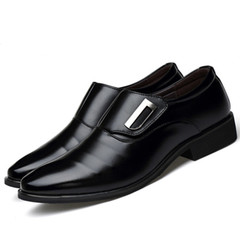 Leather Shoes For Men Shoe Men Men's Formal Leather Shoes British Pointed Shoes PU black 45 leather
