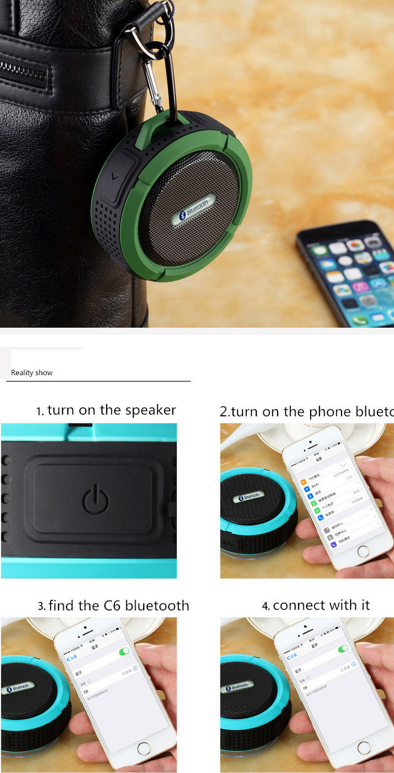 Bluetooth Speakers Waterproof Bluetooth Speaker Bass Wireless Bluetooth Speaker Portable red normal 5