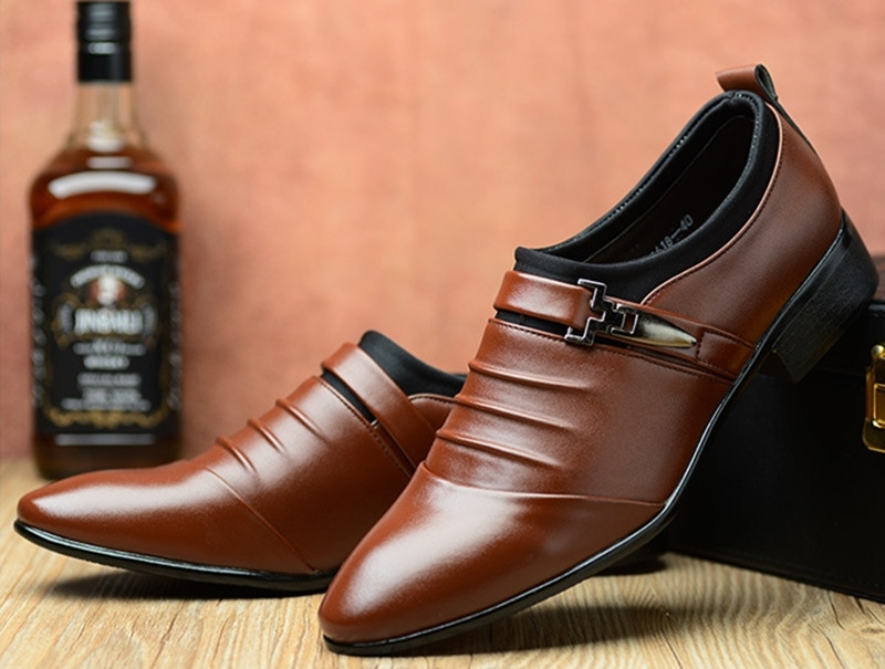 Formal Leather Shoes Men Business Leisure Men's Leather Shoes British Top Leather Shoes For Men brown 44 PU 13