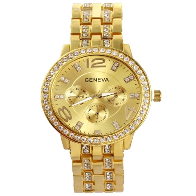 Man and Women Watch Casual Three Clock Simulated Diamond Quartz Watches Lady Dress Wristwatches rose gold normal 2