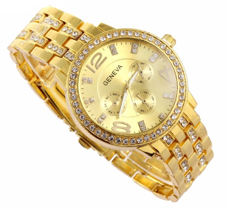 Man and Women Watch Casual Three Clock Simulated Diamond Quartz Watches Lady Dress Wristwatches rose gold normal 3