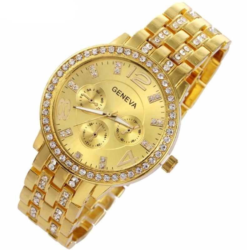 Man and Women Watch Casual Three Clock Simulated Diamond Quartz Watches Lady Dress Wristwatches rose gold normal 4