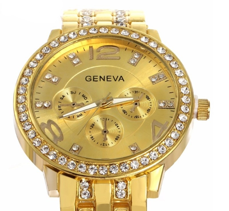 Man and Women Watch Casual Three Clock Simulated Diamond Quartz Watches Lady Dress Wristwatches rose gold normal 5