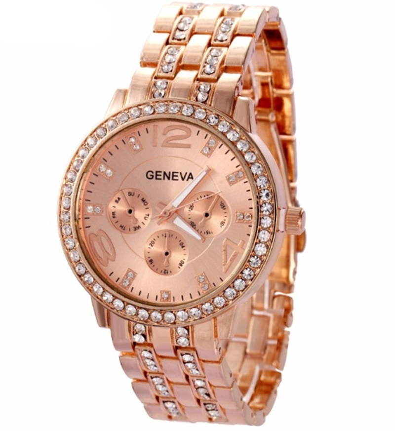 Man and Women Watch Casual Three Clock Simulated Diamond Quartz Watches Lady Dress Wristwatches rose gold normal 7