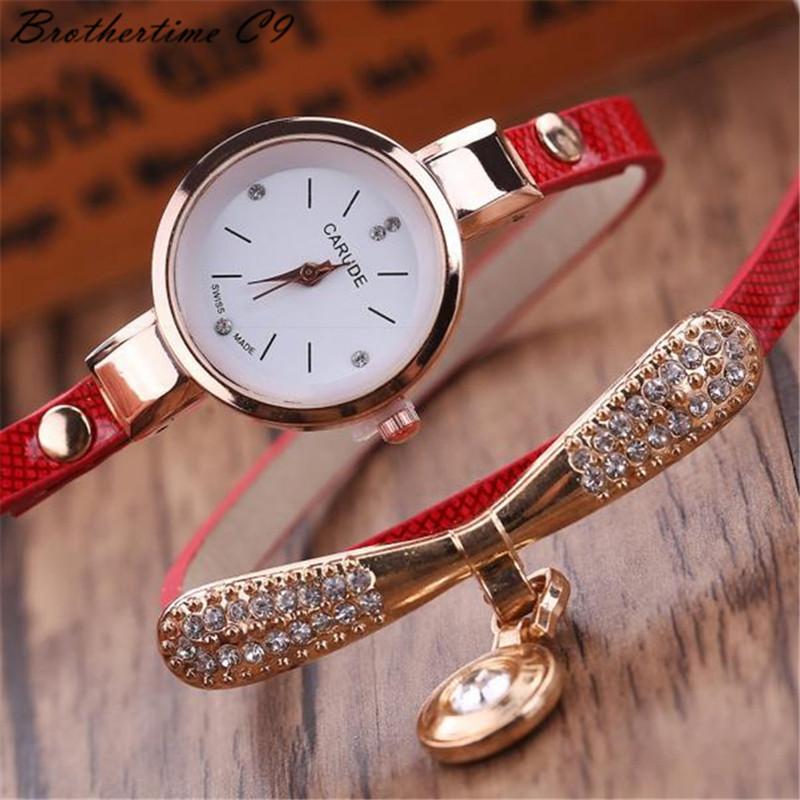 Watches Women Leather Rhinestone Decorative Wristwatches Ladies Pendant Quartz Watches Ladies beige normal 3