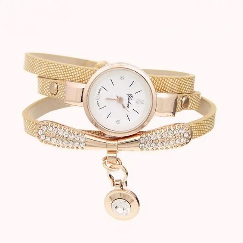 Watches Women Leather Rhinestone Decorative Wristwatches Ladies Pendant Quartz Watches Ladies beige normal 5
