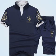 Suits Men (Clothes + Trousers) Short Sleeve T-shirt Shorts Fashion Leisure Sports Men's Wear blue XL