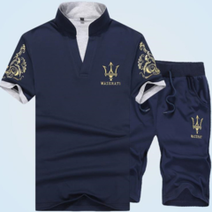Suits Men (Clothes + Trousers) Short Sleeve T-shirt Shorts Fashion Leisure Sports Men's Wear grey 2XL