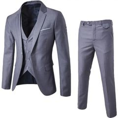 Suits Men Clothes Men Clothes Suits For Men Suit (Suit + Waistcoat + Trousers) Wedding Dress grey M