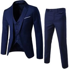 Suits Men Clothes Men Clothes Clothes For Men Suit (Suit + Waistcoat + Trousers) Wedding Dress navy blue XL