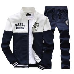 Suits Men's Two-piece(Coat + trousers) Long-sleeved Sports Suit Baseball Clothing Sweater Men white and blue L