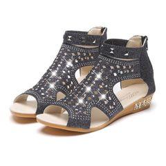 Sandals Women's Shoes Ladies Shoes Sandals Ladies Heels Wedge-heel Sandals Hollow Rhinestone Sandals Black 40