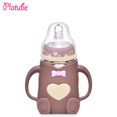 Cute Wide Mouth Feeding nursing milk baby's glass bottle with handle and silicone protective cover COFFEE 240ML