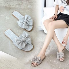 Slippers In Summer Fashion Wear Sandals Bow Flax Breathable Flat-Heeled Beach Slippers gray 37