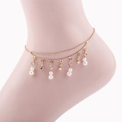 Footchain Jewelry Set Pearl Diamond Multilayer Beach Fashionable Pearl Footchain Jewelry gold one size