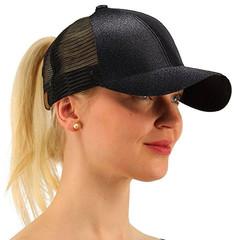 Ponytail Baseball Cap Women Bun Snapback Mesh Hats Casual Sport Sequin Caps Drop Hat Cap black