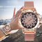 Women Watches Fashion Rose Gold Flower Rhinestone Wrist Luxury Casual Female Quartz Watch rose gold dial diameter:38mm