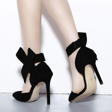 High-Heeled Pointed Shoes Big Butterflies Thin-Heeled High-Heeled Women's Shoes Big Size black 35