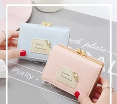 Girls Wallet Leather Purse Women Pearl Zipper Mini Cards Holder Cute Handbag For Ladies pink one size