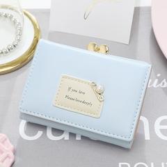 Girls Wallet Leather Purse Women Pearl Zipper Mini Cards Holder Cute Handbag For Ladies sky blue one size