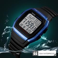 Men Watches Sports Digital Watch Waterproof Alarm Man Wrist Electronic Clock Men blue dial diameter:39mm