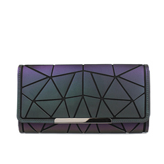 Women Long Wallets Purse Geometry Holographic Luminous Clutch Female Phone Bag Card Holder a one size