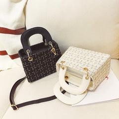 Women Handbags For Ladies Fashion Woollen Small  Weave Shoulder Bag black one size