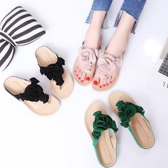 Women Fashion Bohemian Suede Wear Resistant Skid Resistant Flower Beach Slippers Black 36