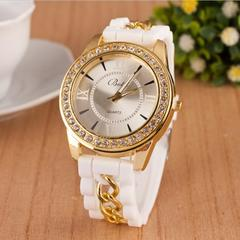 Women Watch Fashion Casual Quartz Watches Ladies Dress Sport Rhinestone Dial Chain Wristwatches white dial diameter:45mm