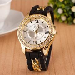 Women Watch Fashion Casual Quartz Watches Ladies Dress Sport Rhinestone Dial Chain Wristwatches black dial diameter:45mm