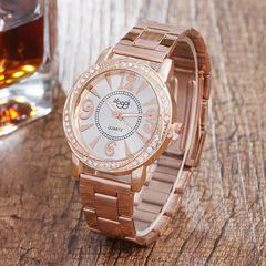 Women Watch Fashion Casual Number Quartz Watches Ladies Rhinestone Dial Chain Wristwatches rose gold dial diameter:45mm