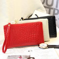 Women's Wallet Long PU Fashion Crocodile Pattern Handbag black one size