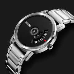 Pointer Large Dial Waterproof Quartz Watch Fashion Trend Steel Band Watch Silver black dial diameter:39mm