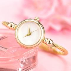 Women Watch Fashion Casual Quartz Watches Ladies Rhinestone Dial Chain Wristwatches gold white dial diameter:23mm