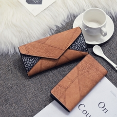 Two piece Women Wallet Long PU Fashion Handbag Ladies Bag brown one size