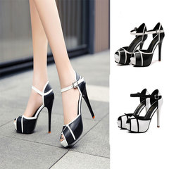 Hot Summer Hollow Buckle Women's Shoes European And Fight Color Fish Mouth Fine With High Heels black 35