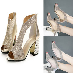 2019 Spring Summer women's Sandals high-heeled  Fish Mouth Shoes Rhinestones Solid Color Sandals gold 35