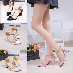 Ladies Shoes with Heels Women Sandals High Heels Summer Sandals Lacquer Leather Button-down Heels black 35