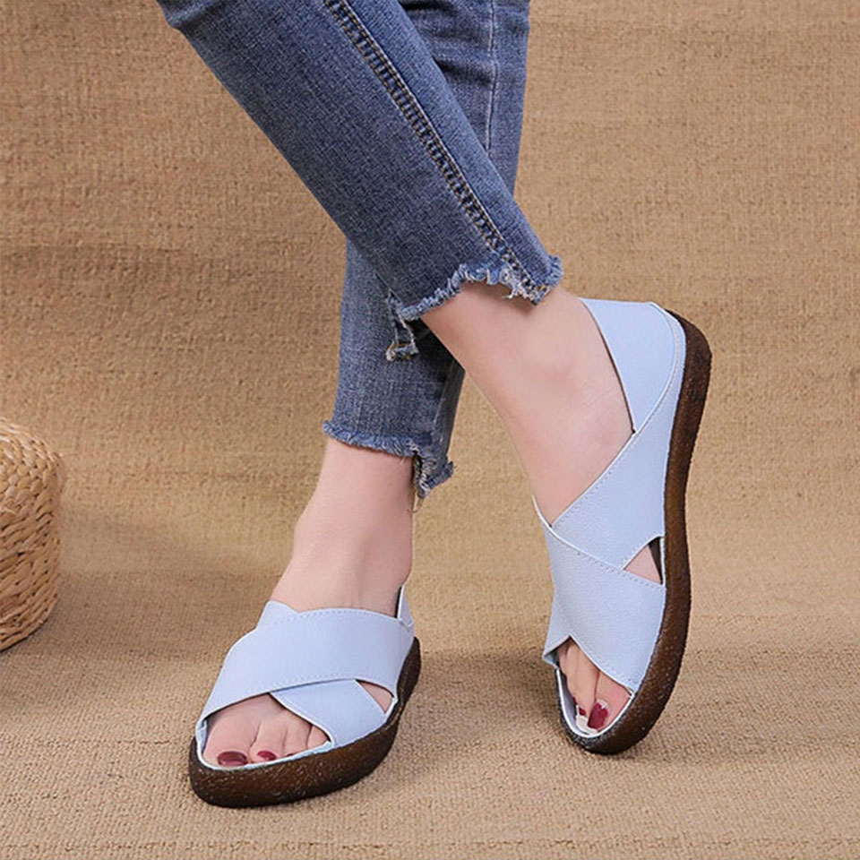 994b0572e99 Women Sandals 2019 Summer Casual Women Shoes Leather Ladies Flat ...