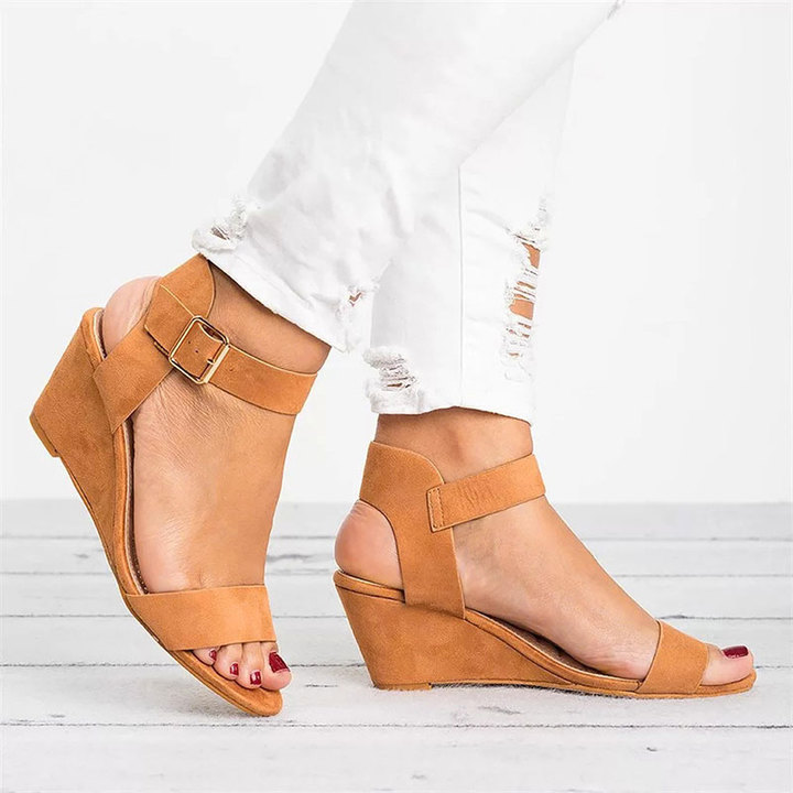 2019 Spring Womens Wedges Shoes For Women Shoes Women's Summer Shoe Ladies Sandals Wedge Sandals brown 38