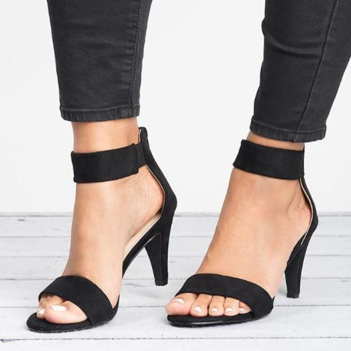 Women Sandals Open Toe Summer Shoes High Heels Sandals Female Plus Size Thin Heel Shoes Woman Sandal black 35