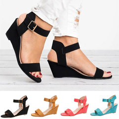 2019 Spring Womens Wedges Shoes For Women Shoes Women's Summer Shoe Ladies Sandals Wedge Sandals black 36