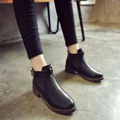 Women Ankle Martin Boots 2019 New Female Casual Shoes Woman Flat Fashion Platform Round Toe Buckle black 35
