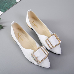 Single shoes new flat shoes pointed women's leisure work shoes women's shoes white 35