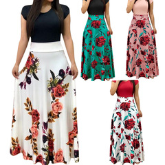 Women Dress Short Sleeves O Neck Patchwork Women Dresses Floral Printed Draped  Long Maxi Dress M short sleeve 1
