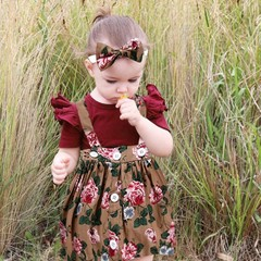 Newest baby girl clothes Short Sleeve  Romper+Print Dress +Print Bow Headband baby girl clothes set As picture 6M