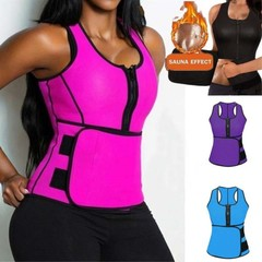 Hot Vest Slimming Adjustable Waist  Body Shaper Tummy Fat Burner Ultra Sweat Neoprene Tank Top Black S