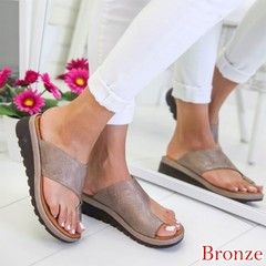 2019 Summer Women's Casual Slippers Leather Wedges Open Toe Shoes Beach Ladies Slippers Sandals Bronze 36